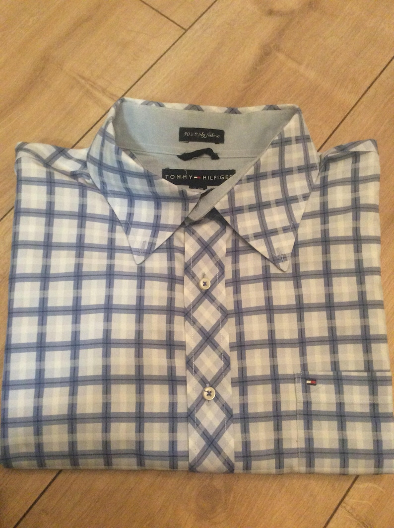 f5aa5a217b Authentic vintage Tommy Hilfiger blue checked formal shirt   Etsy