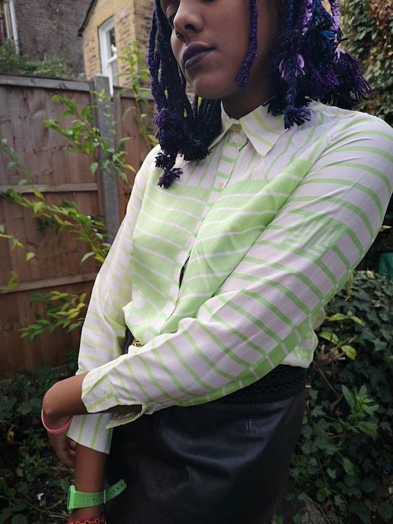 Authentic vintage ladies Lanvin green/white silk L