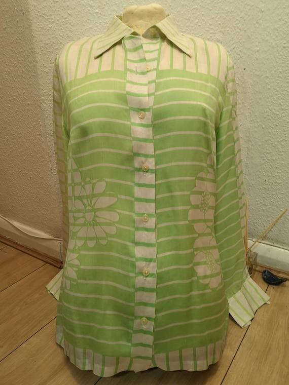 Authentic vintage ladies Lanvin green/white silk … - image 2