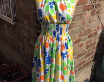 Authentic vintage ladies floral sleeveless maxi dress