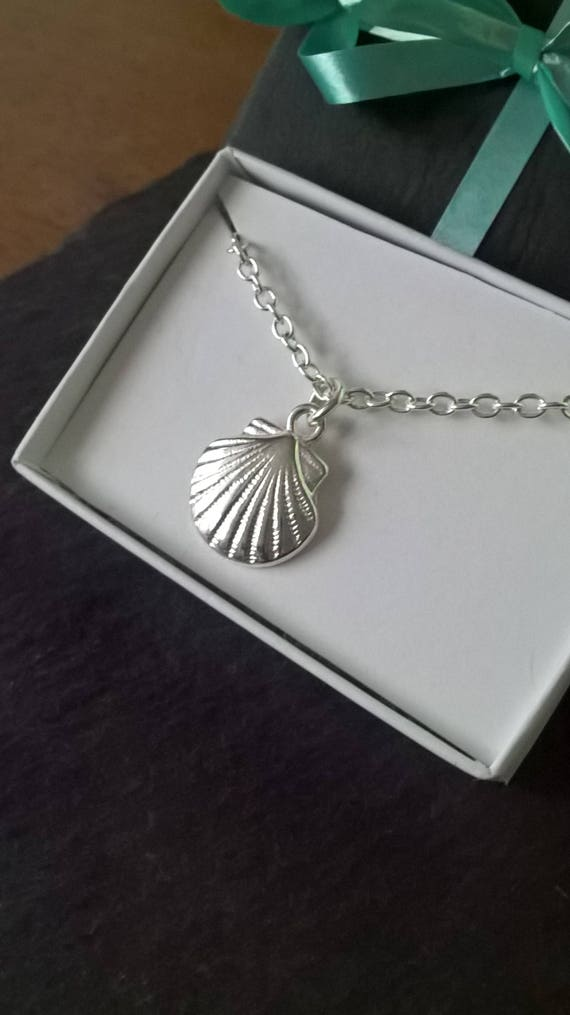 silver shell necklace 18th birthday gift under 10 etsy. Black Bedroom Furniture Sets. Home Design Ideas