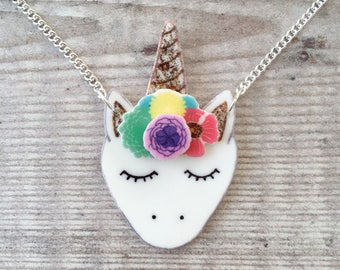 Unicorn necklace - Unicorn jewellery - Unicorn gift - Unicorn face - Rainbow necklace - Gift for her - Summer necklace
