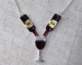 Red wine - Wine necklace - Wine lover gift - Wine gift - Wine glass - Wine bottle - Wine Wednesday - Time for wine - Wine time