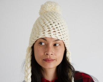 8e7341f49cb White Crocheted Lumberjack Hat