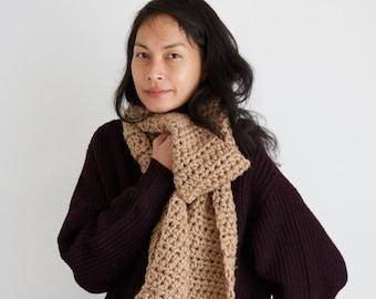 Beige Crocheted Tassel Scarf