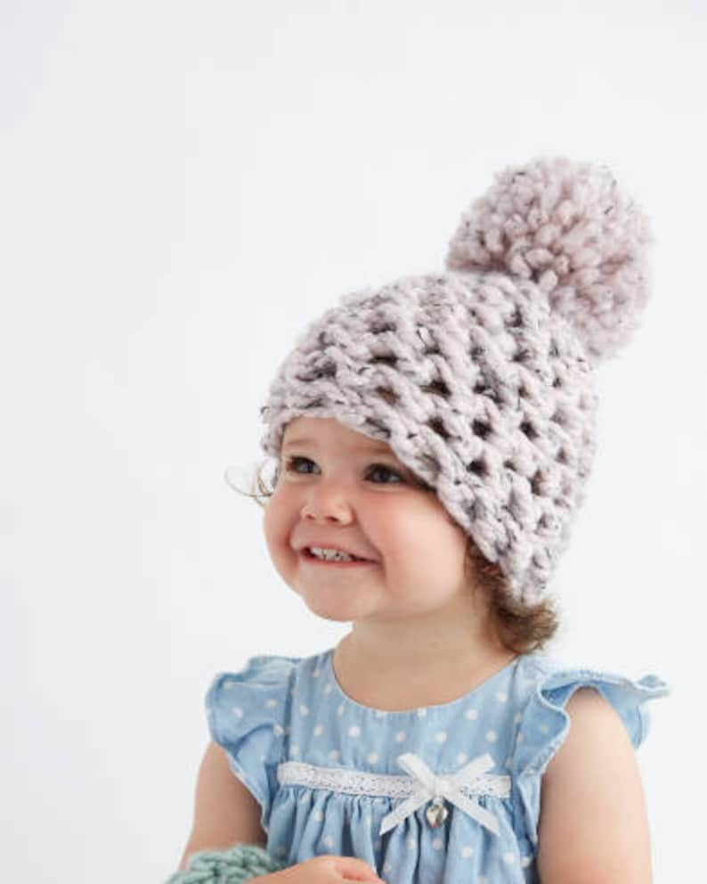 f5949a5c516 Baby Pom Pom Hat in Speckled Pink