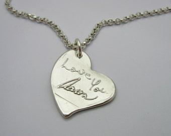 Handwriting Necklace, Handwriting Jewelry, Personalized Necklace, Heart Necklace, Personalized Heart, Signature Jewelry, Name, Wedding, Love