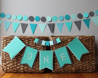 custom first birthday decoration - boy girl - 1st - cake topper- Highchair banner- high chair - garland - teal - aqua - black - ocean - dots