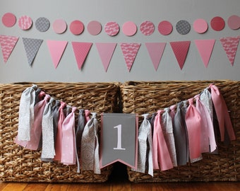 custom first birthday girl decoration - boy - 1st - cake topper- fabric rag tie Highchair banner- high chair - garland - pink - coral - gray