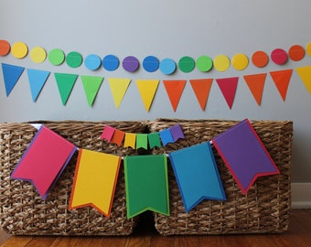 custom first birthday decoration - boy girl - 1st - cake topper- Highchair banner- high chair - garland - carnival - fiesta - red green blue