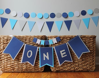 custom first birthday boy decoration - girl - 1st - cake topper- Highchair banner ONE- high chair- garland -  navy royal blue aqua - gray