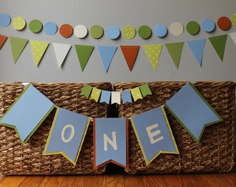 custom first birthday decoration - boy girl - 1st - cake topper- Highchair banner- high chair - garland - woodland - green - orange - blue