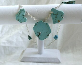 Handmade Turquoise and Silver Statement Necklace