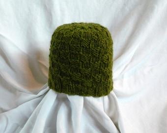 Green Checkerboard Stitch Hand Knit Children's Alpaca Hat - Size 1-3 years