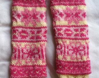 Handknit child legwarmers, size 3 months to 4 years