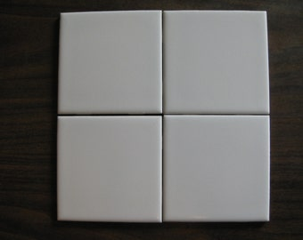 """Pure White Ceramic """"Lamosa"""" Mexican Tile in 4.25 x 4.25 Square & 2 x 6 Surface Bullnose  (Shipping Included)"""