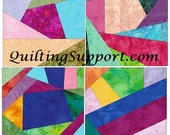 Crazy Patch Quilt Set 4 Paper Foundation Piecing Quilting 4 Block Patterns PDF