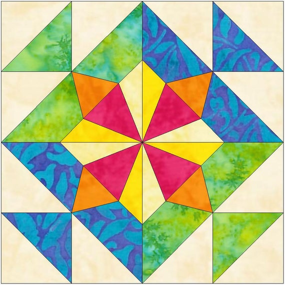 windmill 2 15 inch paper template quilting block pattern pdf etsy