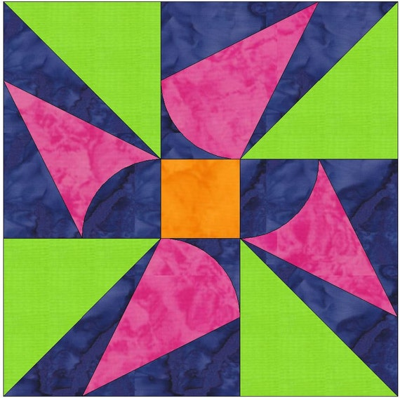 windmill paper template quilting block pattern pdf etsy
