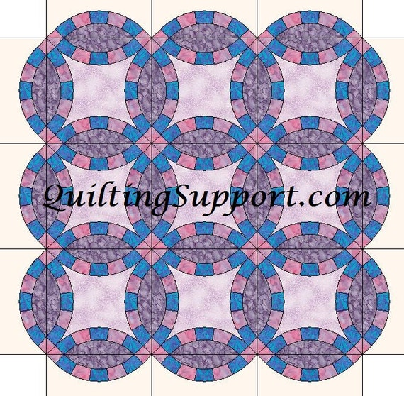 5 segment double wedding ring quilt with scalloped edges etsy image 0 maxwellsz