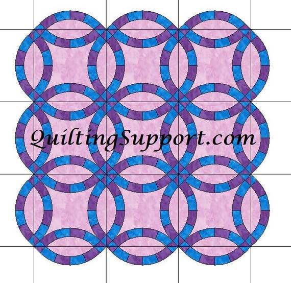 The Double Wedding Ring Quilt With Scalloped Edges Template Etsy