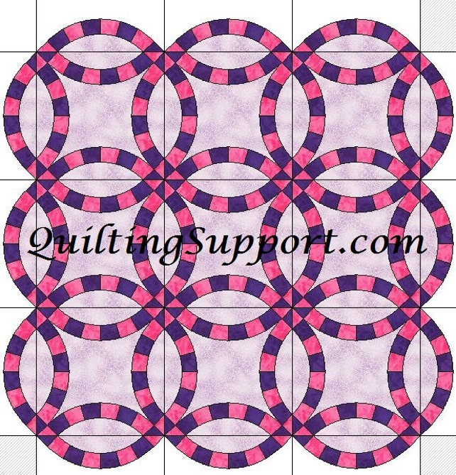 6 Segment Double Wedding Ring Quilt With Scalloped Edges Etsy