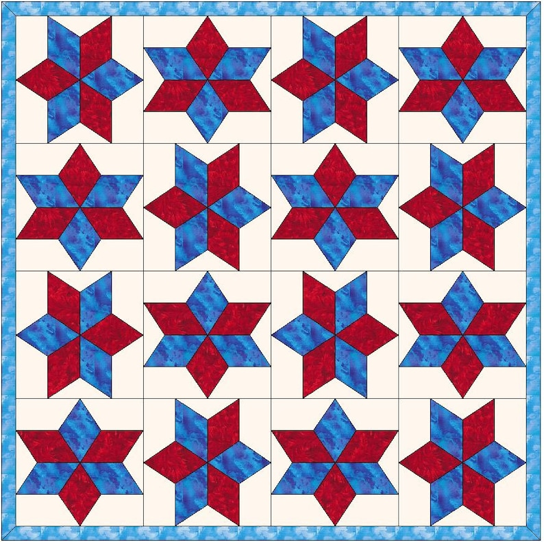Morning Star Quilt Template Quilting Block Pattern Pdf Etsy