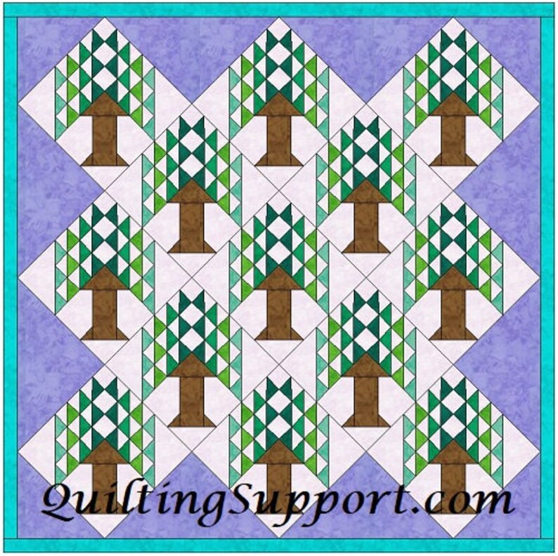 Tree Of Paradise Quilt 10 Inch Paper Piece Foundation Quilting Etsy