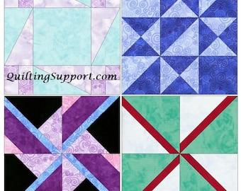 Spinning Set 1 - 15 Inch Block Set of 4 Template Quilting Block Patterns  PDF