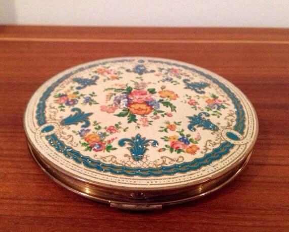 Compact - Vintage Floral Enamel
