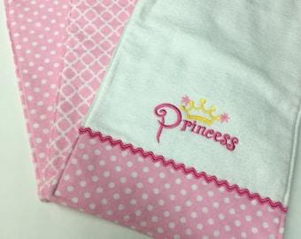 Three Handmade Pink Baby Burp Cloths