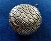 Vintage Sterling Pill Box, French Compact or Pill Box
