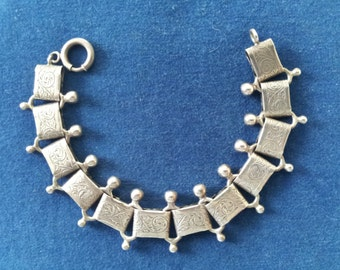 Vintage Danecraft Sterling Etched Book Chain Victorian Revival Bracelet