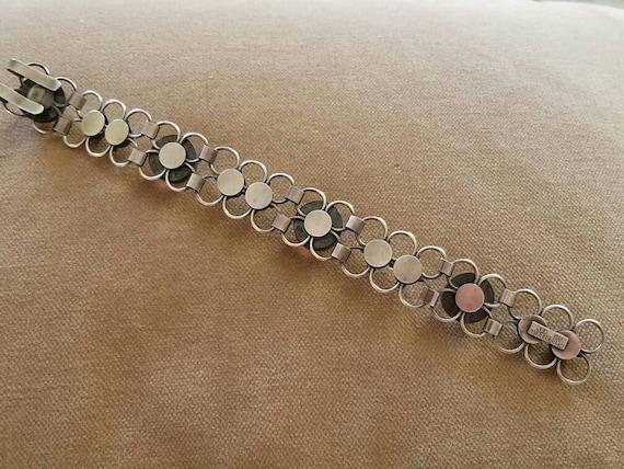 Vintage Sterling Rose Quartz Bracelet, Mid Centur… - image 2