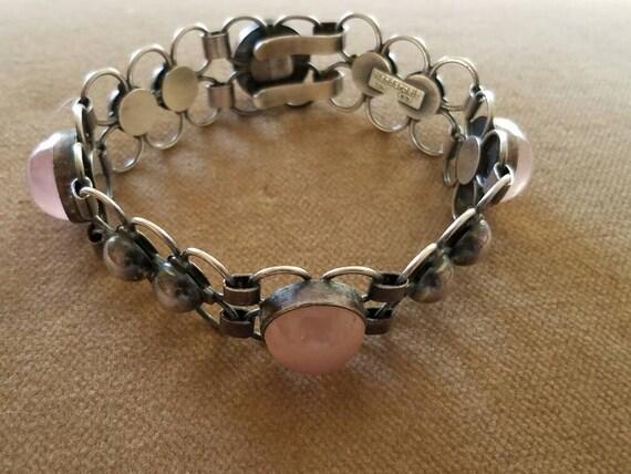 Vintage Sterling Rose Quartz Bracelet, Mid Centur… - image 5