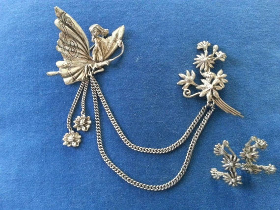 Vintage Cyvra Sterling Chatelaine Brooch and Earri