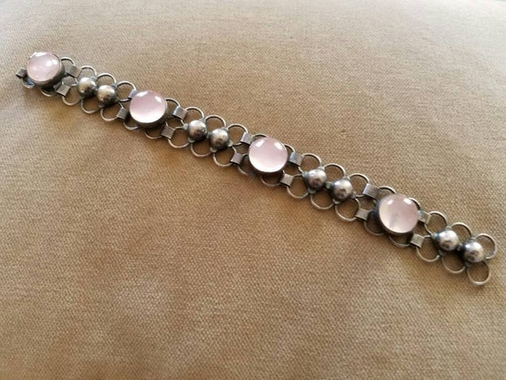 Vintage Sterling Rose Quartz Bracelet, Mid Centur… - image 1