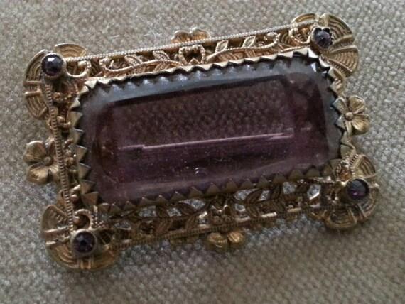 Antique Brooch Victorian Amethyst Stone Glass Brooch Pin Valentines