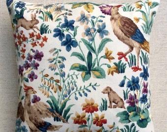 "Vintage Linen Fabric Cushion ""Cluny"" By Sanderson 40cmx40cm"