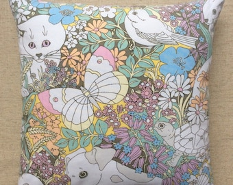 Vintage Pat Albeck Fabric Cushion 'Spot And Friends' For Sanderson 40cmx40cm