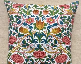 Vintage William Morris 'Rose' Linen Fabric Cushion By Sanderson 40cm x 40cm