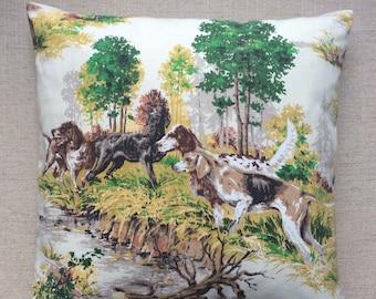 Vintage 1950s Hunting Scene Fabric Cushion 40cmx40cm