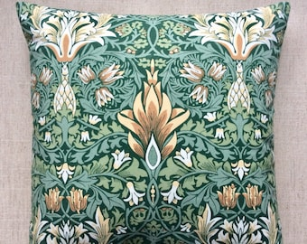 "Vintage William Morris ""Snake Head"" Fabric Cushion By Liberty Of London 40cm x 40cm"