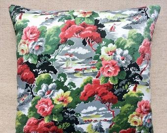 Vintage 1940s Fabric Cushion 40cm x 40cm