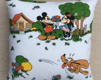 Vintage Walt Disney Mickey And Minnie Fabric Cushion 40cmx40cm