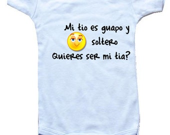Tia baby gift etsy baby one piece personalized gifts spanish mi tio es guapo y soltero negle Images