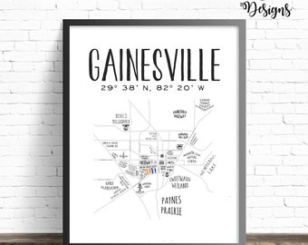 Map University Of Florida.Gainesville Map University Of Florida Instant Download Etsy