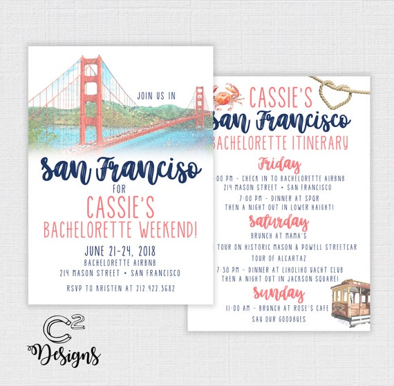 san francisco bachelorette party invitation itinerary etsy