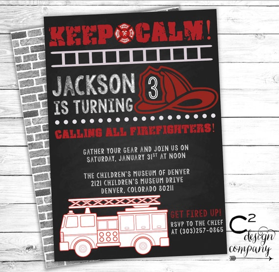 Keep calm firefighter birthday invitation etsy image 0 filmwisefo