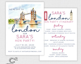 London Hen Party Invitation and Itinerary -Template